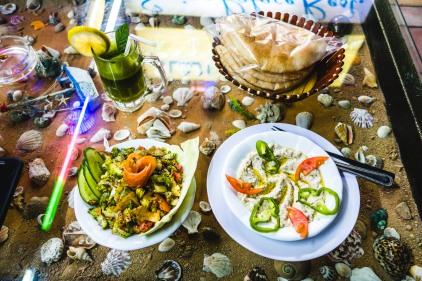Lime and mint juice, Fatoush salad, Mutabal and pita. Aqaba, 2013.