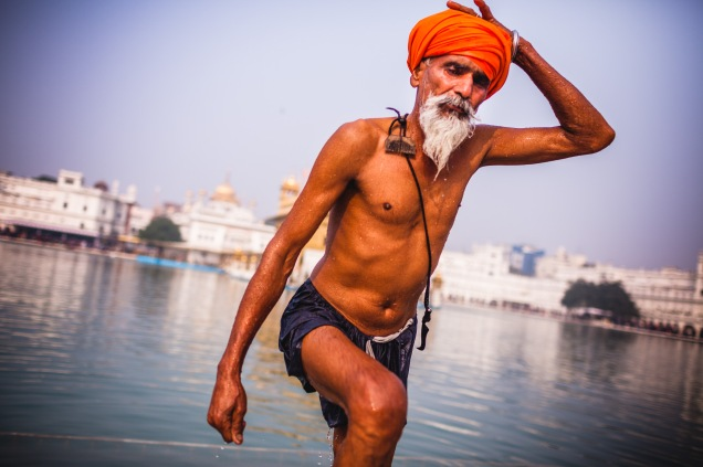 Bathing at Harmandir Sahib. Amritsar, 2013.