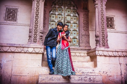 They obviously didn't knew each other, and awkwardly agreed to take the pose. The two families were around observing them - Learning to love - This is my first wedding photograph ever. Jodhpur, India, 2014.