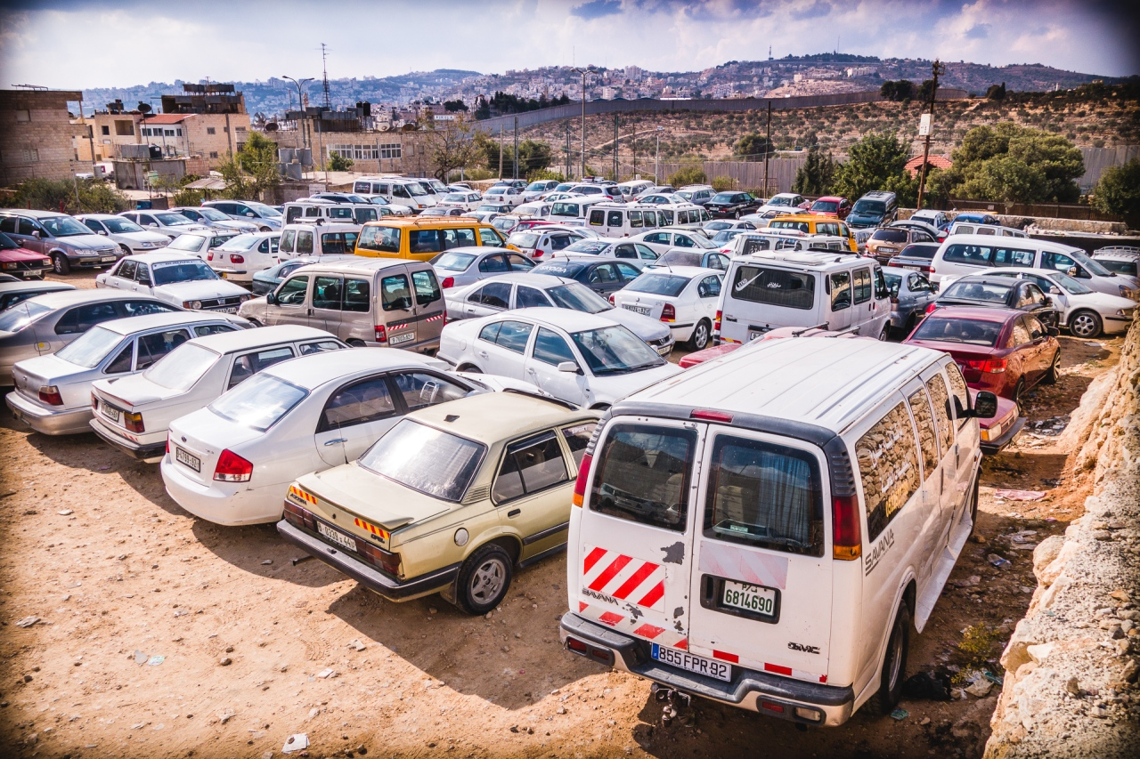 Parking lot the other side of the Segregation Wall in Bethlehem. Bethlehem, Palestine, 2014.