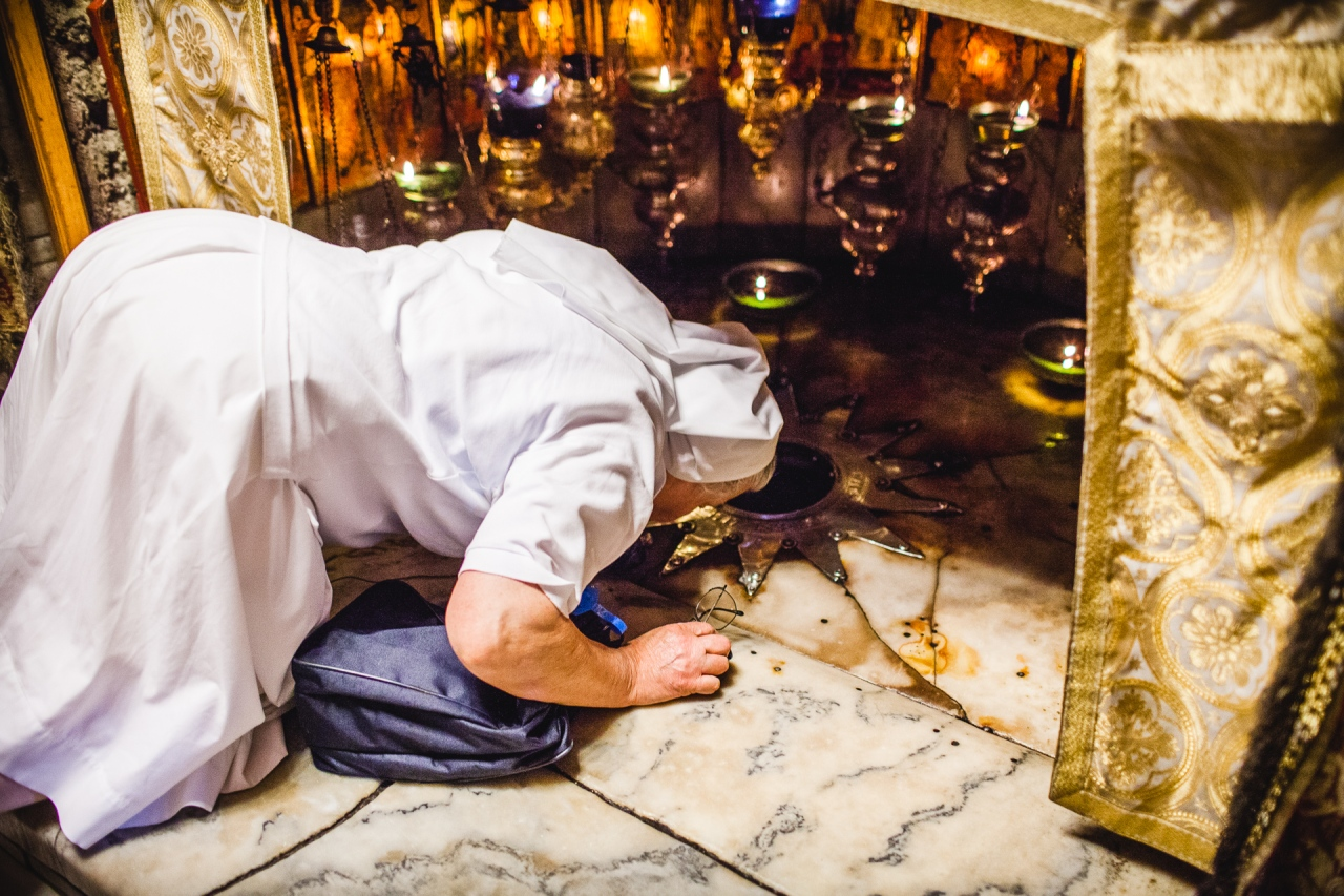 The actual place where the Christ was born under the Nativity Church. Bethlehem, Palestine, 2014.