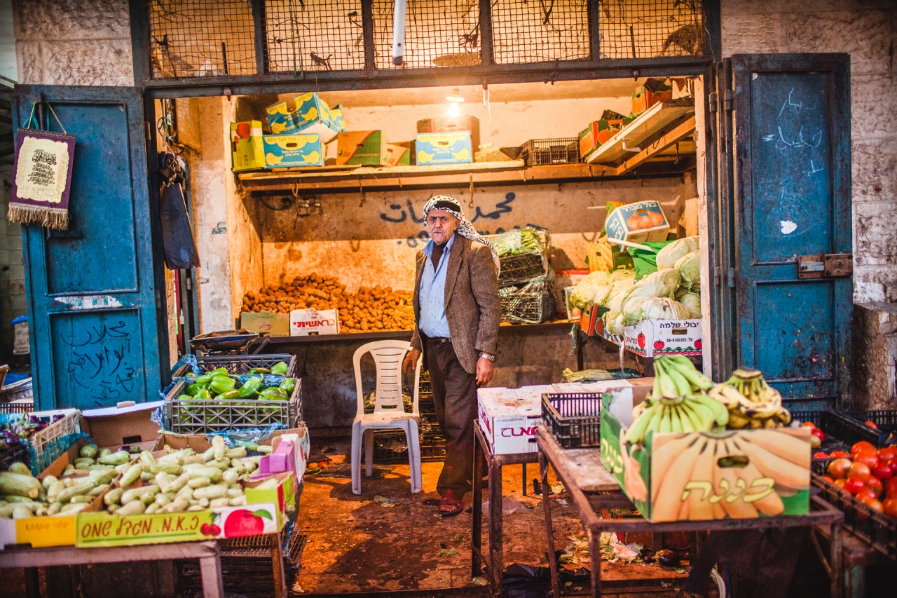 The market in Bethlehem next to the Nativity Church. Bethlehem, Palestine, 2014.