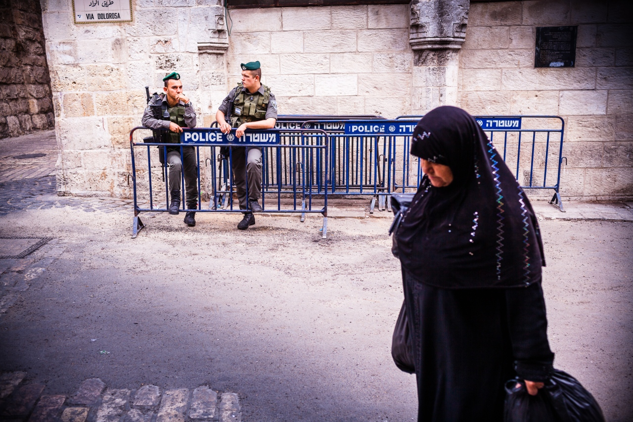The Path of the Cross, the Ways of Sorrows, Via Dolorosa. Jerusalem, Israel, 2014.