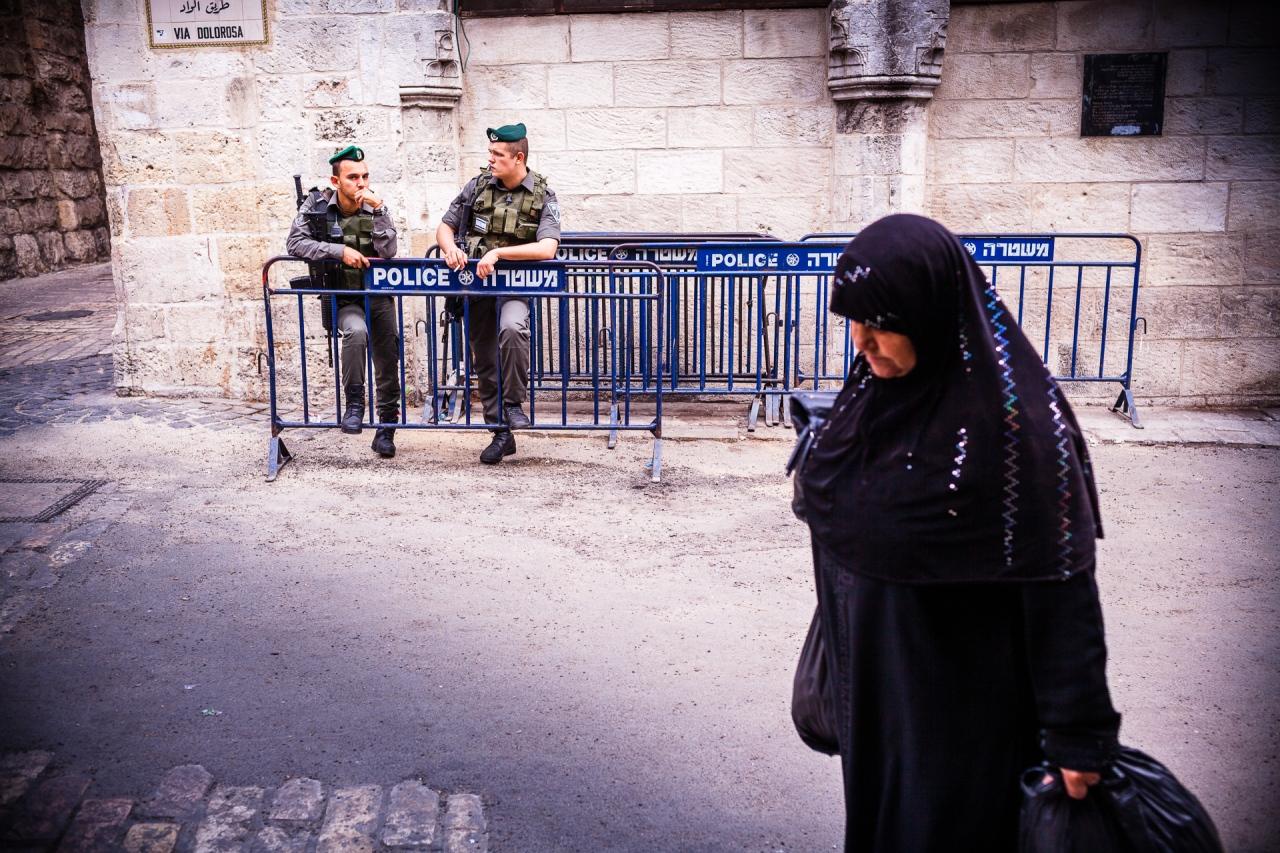 The Path of the Cross, the Ways of Sorrows, Via Dolorosa. Jerusalem, Israel, 2014.