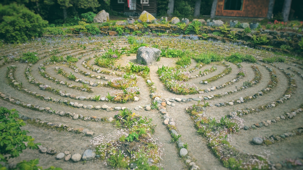 Wandering Alaskan wilderness I encounter a beautiful meditation maze. Do we need to create order to make sense of life? Does that only mean unrooting nature and creating tiny walls? And then, now that we trapped ourselves, trying to get out of it? Juneau, AK, USA, 2017.